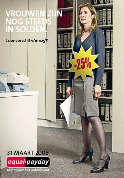 "Campagne ""Equal Pay Day"" van Zij-kant en het ABVV, 2008 (www.equalpayday.be)"