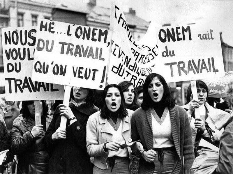 Solidariteitsactie van Marie Mineur met werkloze vrouwen, 1975 (foto Véronique Vercheval)