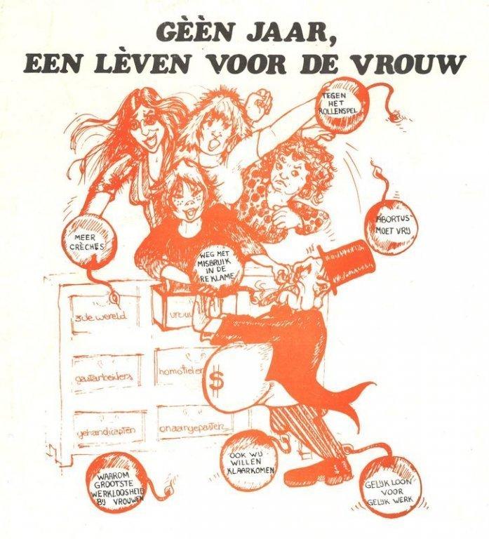 Dolle Mina toonde zich met deze affiche kritisch ten opzichte van het Internationale Jaar van de Vrouw van de Verenigde Naties, 1975 (collectie AVG-Carhif)