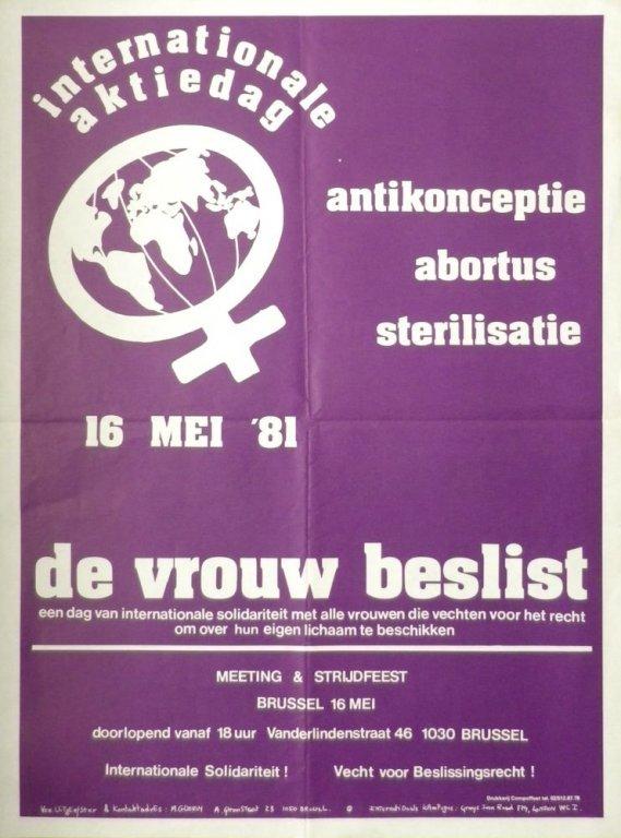 Affiche voor een internationale actiedag voor abortus en anticonceptie, 1981 (collectie AVG-Carhif)