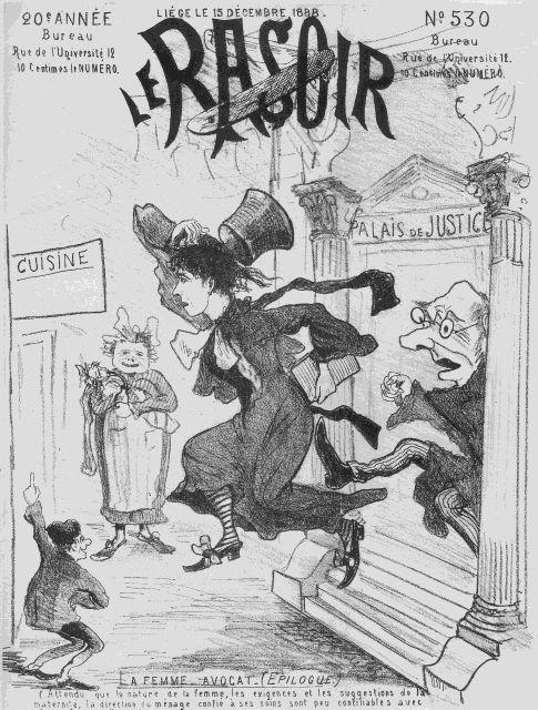 Karikatuur van Marie Popelin, eerste feministische golf (collectie AVG-Carhif)