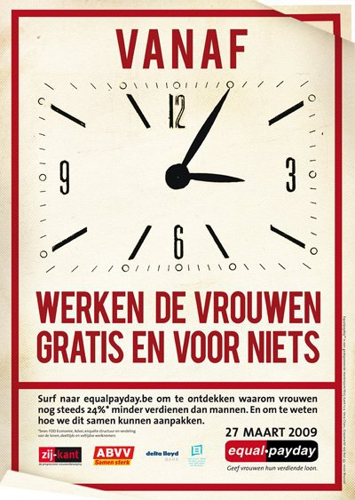 "Campagne ""Equal Pay Day"" van Zij-kant en het ABVV, 2009 (www.equalpayday.be)"