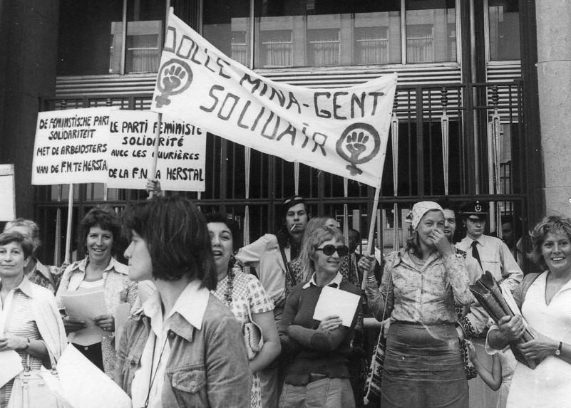 Manifestatie voor het Ministerie van tewerkstelling en arbeid, 1974 (collectie AVG-Carhif)
