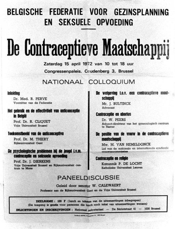 """Aankondiging van het colloquium """"De contraceptieve maatschappij"""", 1972 (collectie AVG-Carhif)"""