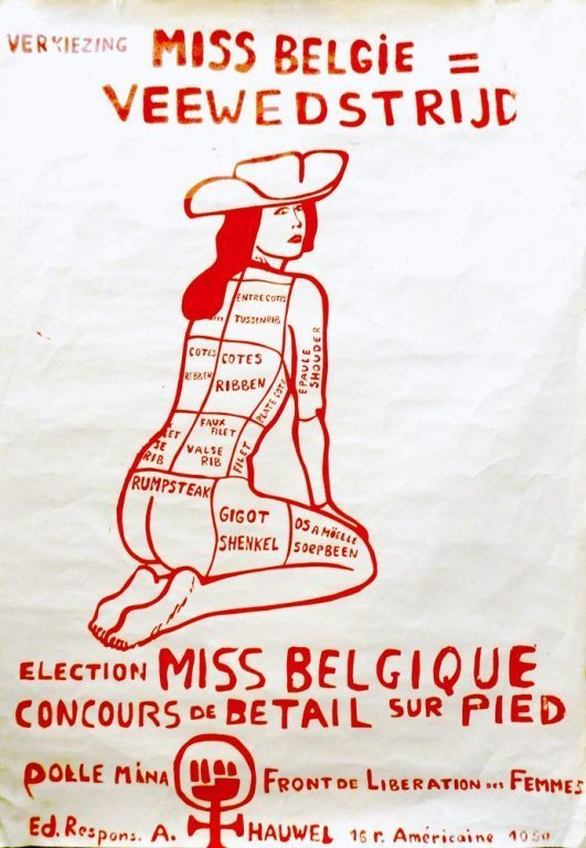 Affiche van Dolle Mina en Front de Liberation des Femmes tegen de verkiezing van Miss België, 1971 (collectie AVG-Carhif)